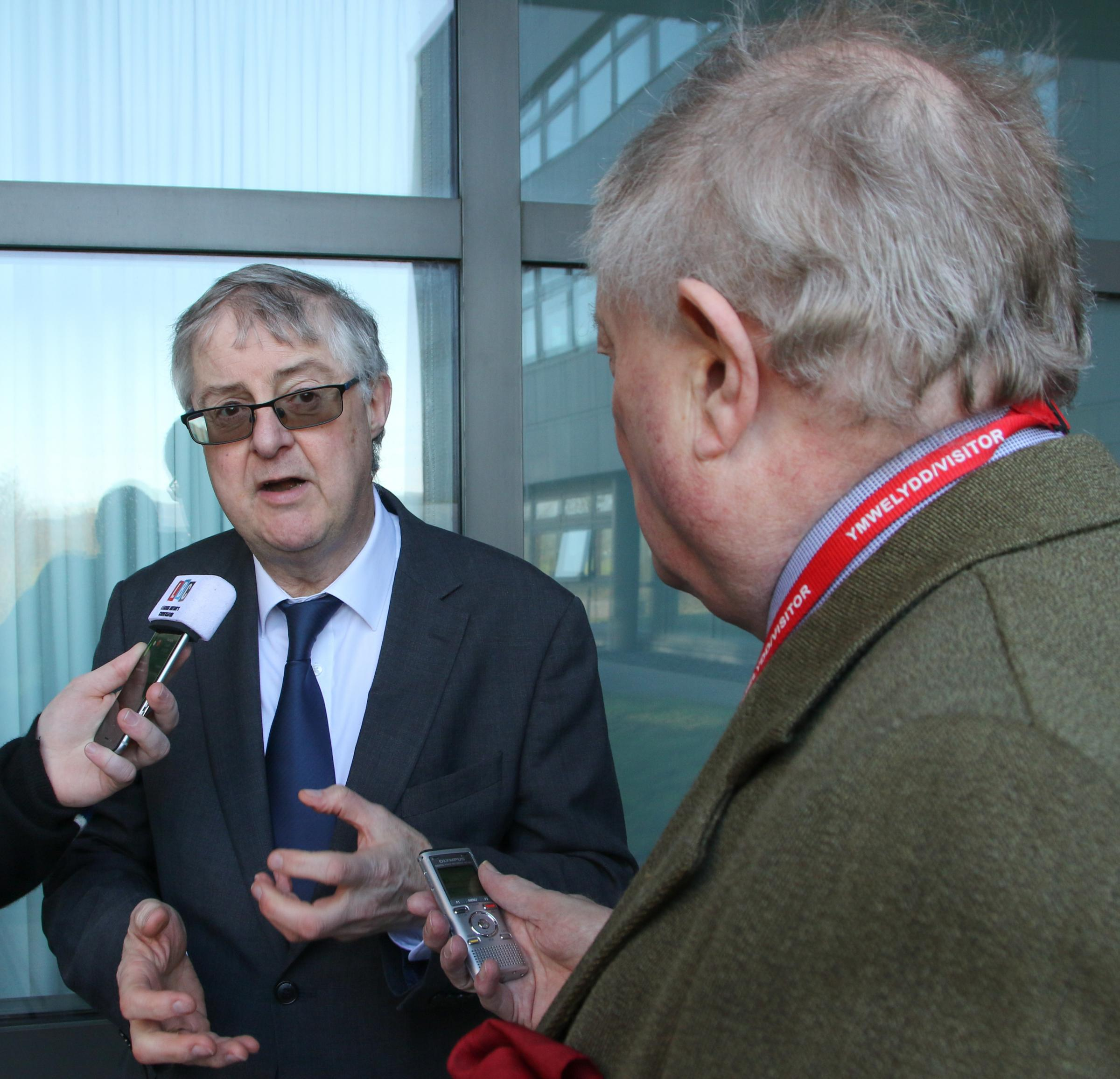 First Minister Mark Drakeford being interviewed before the cabinet meeting. Picture: Kerry Roberts