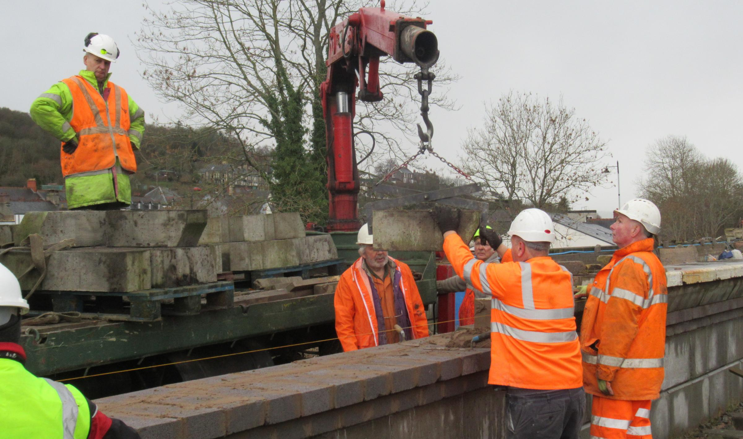 Volunteers working on the Corwen platform.