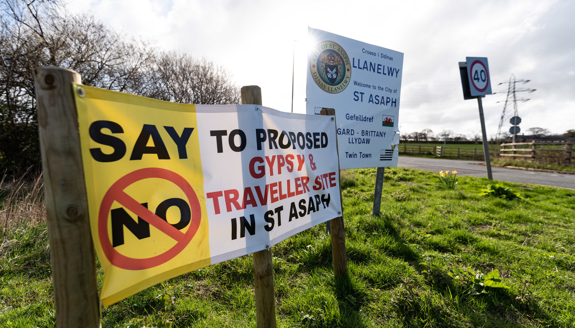 Signage near to the proposed gypsy and traveller site in St Asaph. Picture: Don Jackson-Wyatt, DJW250319
