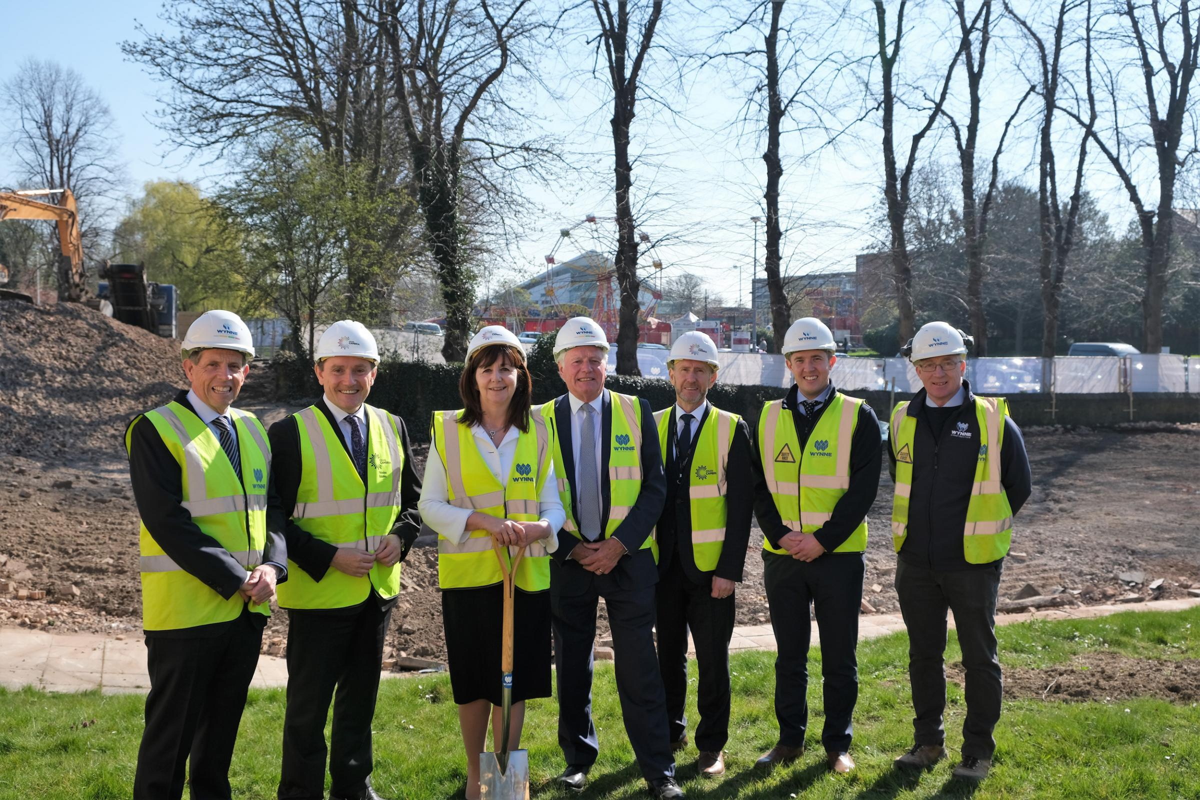 From left: Chris Wynne, managing director at Wynne Construction; David Jones, Coleg Cambria CEO; Lesley Griffiths, AM for Wrexham; John Clutton, chair of Coleg Cambria; Graham Evans, head of capital build at Coleg Cambria; David Wynne, quantity surveyor a