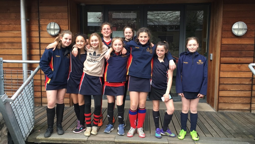 The seven-a-side U-13 girls' hockey team from Ysgol y Berwyn