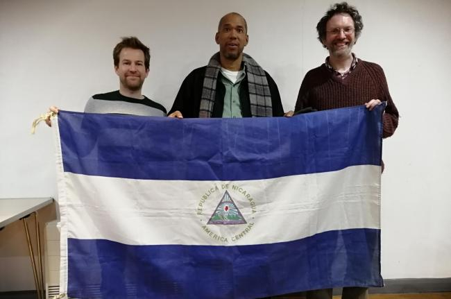 Johnny Hogson (centre) with (from left) event organiser David McKnight and Ben Gregory, secretary for the Wales Nicaragua Solidarity Campaign.