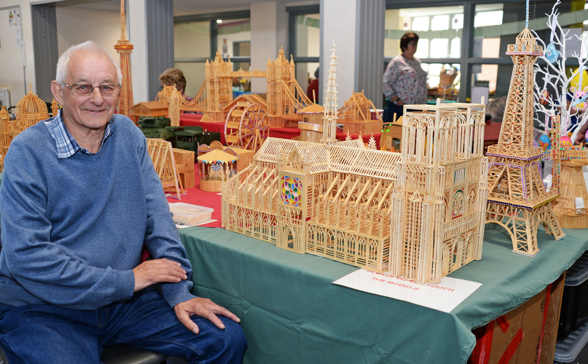 Jim Hesbrook with his Notre Dame Cathedral made out of matchsticks. PICTURE: Evan Dobson.