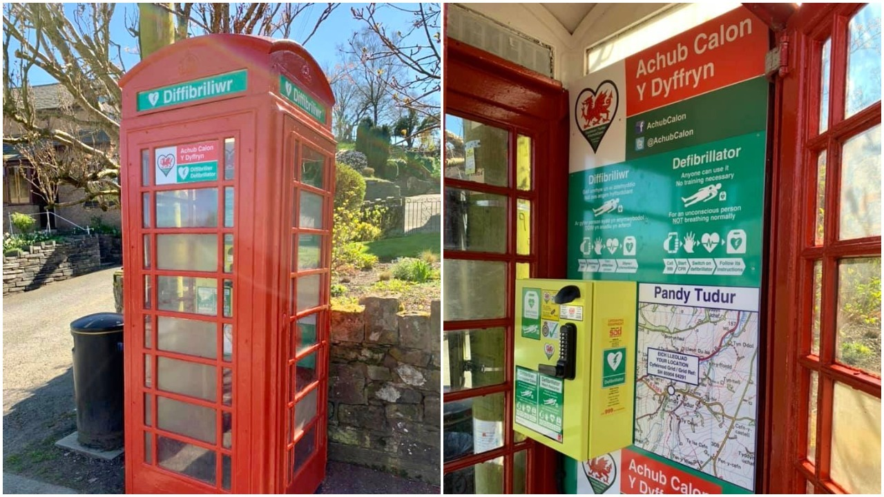 The former telephone kiosk at Pandy Tudor is now home to a defibrillator