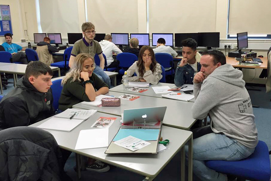 The Coleg Llandrillo students working on the business plan