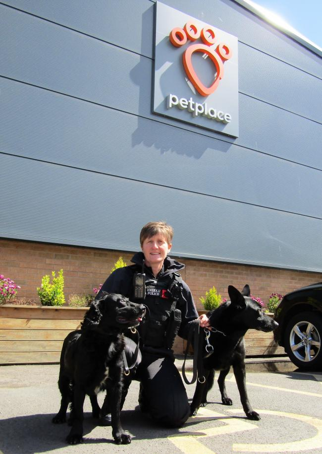 Jackie Edwards and her police dogs Fiona and Scotty