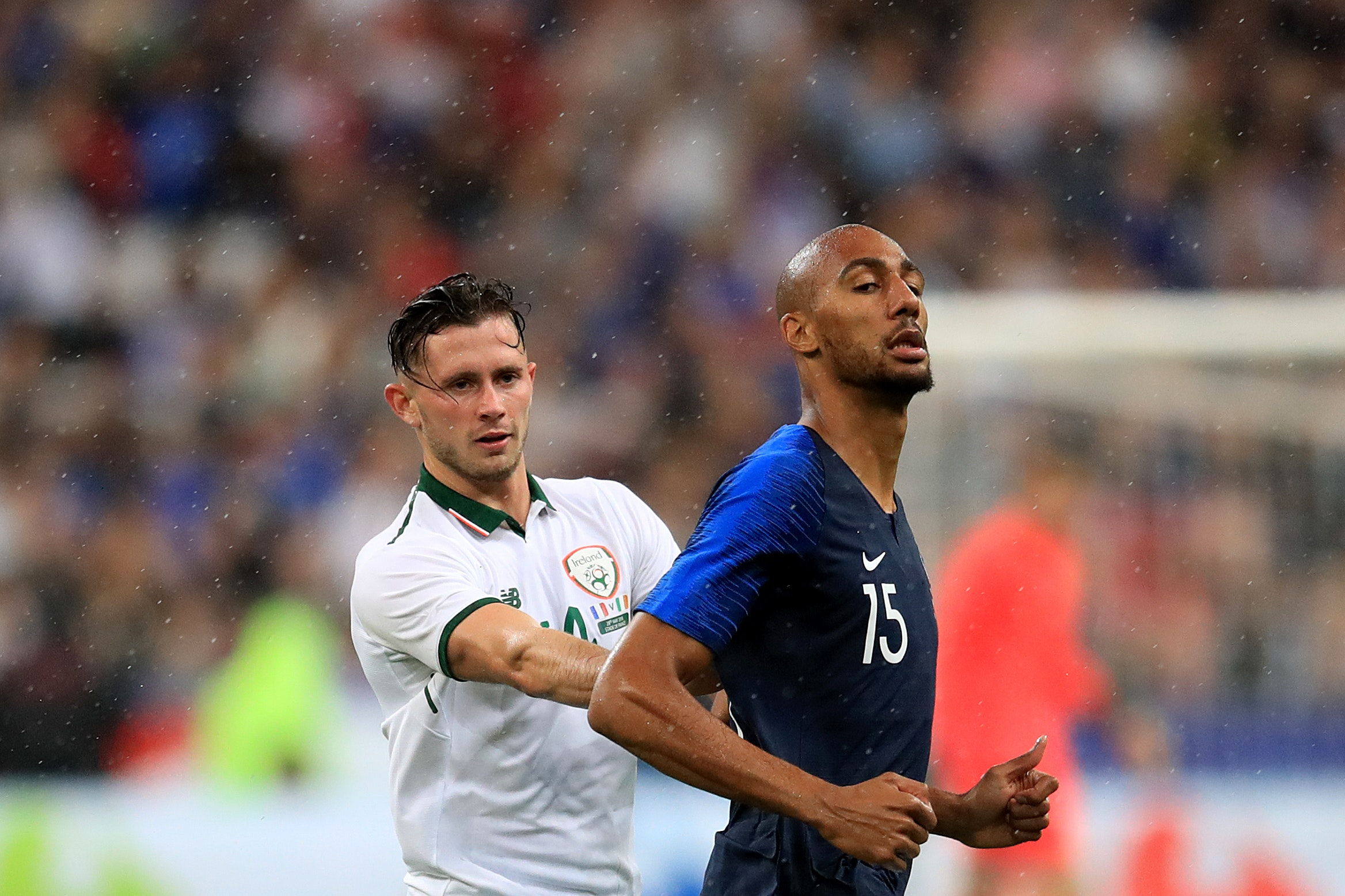 Republic of Ireland midfielder Alan Browne (left) in action against World Cup winners France
