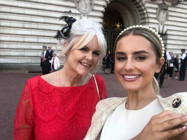 Amber Davies and her mum Susan at Buckingham Palace
