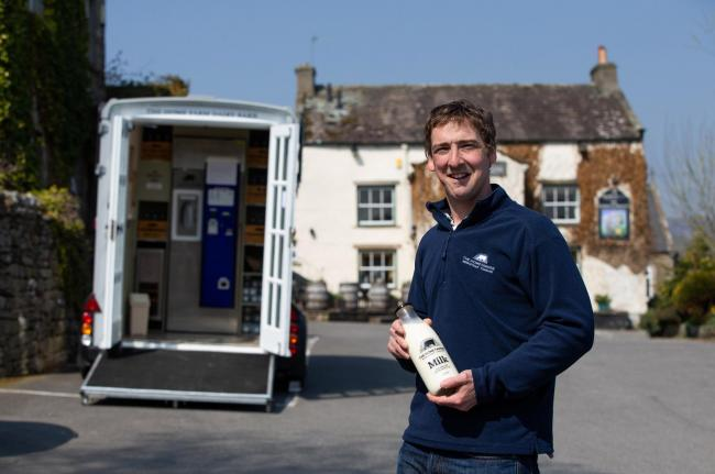 The Home Farmer dairy producers have converted an Ifor Williams horsebox into a mobile milk/cheese vending machine which drives around the villages of Wensleydale providing fresh milk for people. Stationed in the car park of the George and Dragon Pub in A