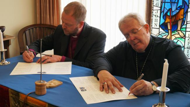 Bishop of St Asaph, the Rt Revd Gregory Cameron (right) and Bishop of Helsinki, Teemu Laajasalo