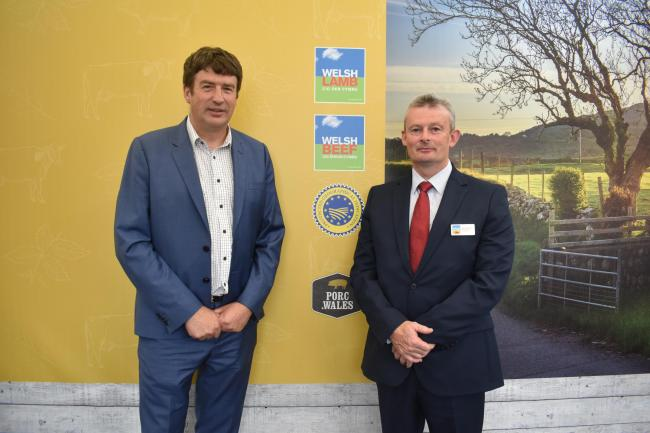 Oritain's Grant Cochrane and Gwyn Howells of HCC launch the partnership at the 2018 Royal Welsh Show.