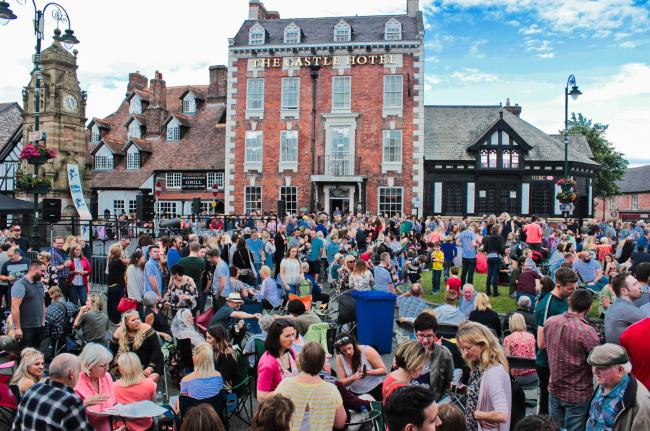 Crowd shot of Ruthin Festival on St Peter's Square in Ruthin