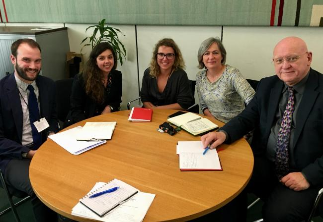 MPs Hywel Williams and Liz Saville Roberts meet representatives of Vodafone